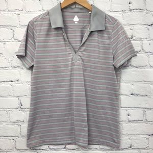 Bollé Ladies Pink and Grey Striped Polo